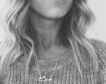 Geometric Mountain wanderlsut necklace minimalist