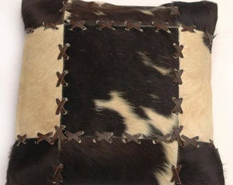 Natural Cowhide Luxurious Patchwork Hairon Cushion/pillow Cover (15''x 15'')a190