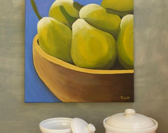 Pears painting Still Life Painting Still life art Kitchen wall decor Wall decor fruits Pears wall canvas Acrylic painting