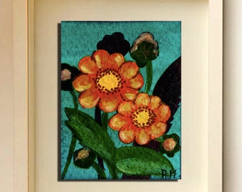 ACEO  flowers Original ACEO Acrylic painting Yellow  flowers Miniature Art ACEO Painting original Limited Edition