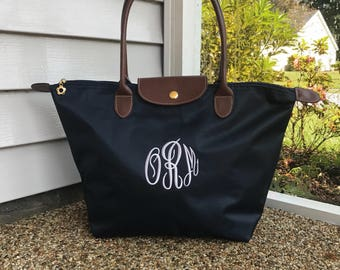 Monogram Tote Bag -  Personalized - Nylon Tote - Bridesmaids Gift - Travel Purse  - COLORFUL Tote Bag - Embroidered Bag - Preppy Totes