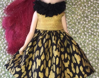 Black and Gold Leopard Dress and Ruff