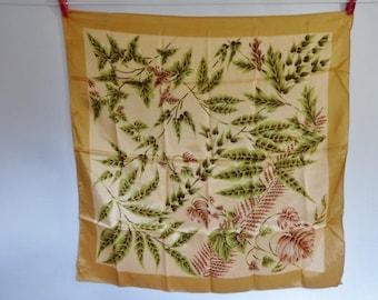 Vintage Italian Scarf leaves design 68cm x 68cm
