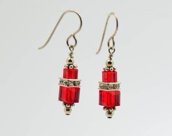 Ruby Red Swarovski Crystal Squaredelle Earrings // Christmas earrings // July birthstone earrings // Bridesmaid earrings