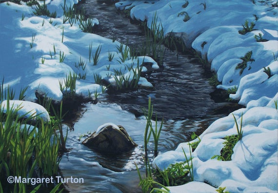 Shadows Across the Snow, acrylic painting on canvas