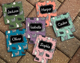Personalized CATS Patterned Can Coolies - Personalized Beer Sleeve - Personalized Gift