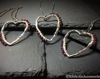 Wire Wrapped Heart Pendant, Silver Heart with Garnets, Hammered Heart, Garnet Pendant, Romantic Gifts, Garnet Jewelry, Heart Necklace