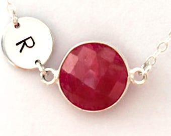 Raw Ruby Necklace,  Birthstone Necklace, July Birthstone Necklace, July Birthstone Jewelry, Happy Birthday Gift, Birthday Card, Jewelry