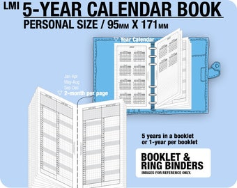 PERSONAL 5-year Calendar Book / 2018 2019 2020 2021 2022 - Inserts Refills Filofax Binder Collins