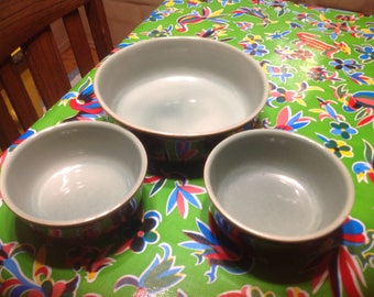 Vintage heavy Red Wing  stoneware green and brown salad serving bowl and 2 smaller salad bowls