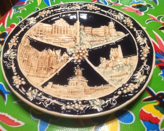 Vintage hand painted raised relief souvenir ceramic plateof German cities- West Germanyr