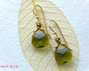Swarovski Earrings, Olive Green Earrings, Drop Earrings, Gold Earrings, Crystal Earrings, Gift For Her, Bridesmaid Gift