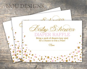 Pink and Gold Glitter-look Sprinkles Diaper Raffle Ticket - Printable File