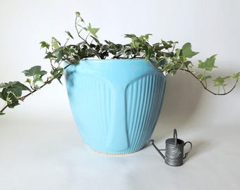 Robinson Ransbottom Pottery Co Large blue Jardiniere Planter Vintage Mid Century