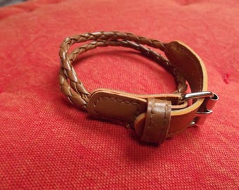 2 support of brown leather strap braided of 46cm long (two turns of wrist)