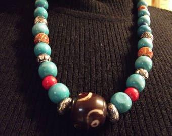 Tibetan necklace long wooden beads