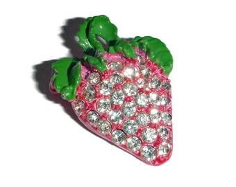 Big JUICY Pink STRAWBERRY Rhinestone Brooch Sparkly Vintage FRUIT Blingy Berry Pin 60s 70s Food Broach Tropical Resort Wear Jewelry Gift