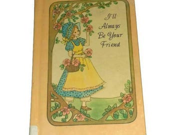 Cute Vintage HOLLY HOBBIE Style Book, 70s Friendship, BFF  Birthday Gift, Hard Cover Illustrated Hobby PocketBook Special Friend 1970s Child
