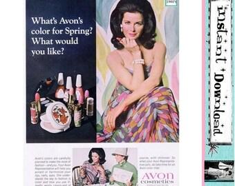 60s 70s AVON AD Lipstick Beauty Advertising Instant Download Printable Ad Mod Boho Makeup Advert 1970s Fashion Cosmetics Decor DIY Print Ad