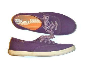 90s PURPLE KEDS SNEAKERS American Classic Vintage Skater Shoes Grape Soda Color 1990s Ladies Size 5.5 Euro 35.5 Cute Runners Running Shoes