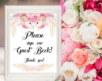 Wedding Guest Book Sign, Printable Decor Sign, Wedding Decor, Digital Print, Printable, Instant Download