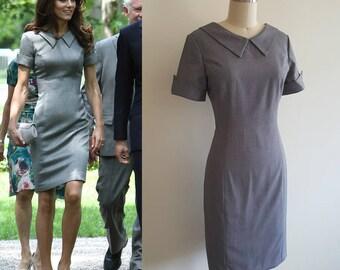 Pencil dress/ Grey sheath dress/ Kate Middleton dress/ Catherine Walker inspired/ tailored dress/ work dress/ Custom made dress/ Plus size
