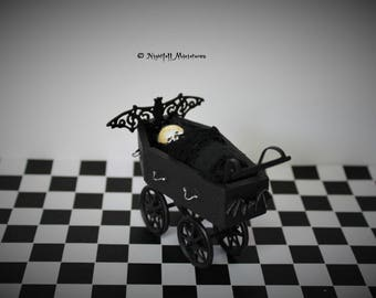 Dollhouse Miniature Spooky Gothic Haunted House Nursery Coffin Pram and creepy vampire baby  in 1:12 scale