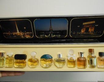 Set of 10 miniature vintage perfumes: Les Meilleurs Parfums de Paris.  Revillon, Balmain, Caron, Weil, Dana, Jean Couturier, and more.