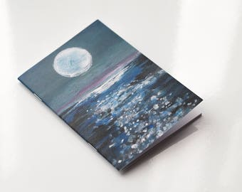 A6 Notebook, Moon Notebook, Moon Gift, Recycled Notebook, Blank Notebook Recycled Paper Notebook, Moon Over Sea Eco Notebook, Bullet Journal