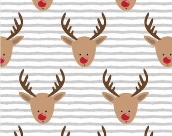 Rudolph Reindeer Fabric by the Yard Cotton Baby Christmas Fabric Rudolf Holiday Fabric Stripes Christmas Cotton Fabric by the Yard 6801556
