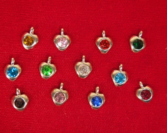 "12pc set ""birthstones"" heart charms in antique silver style (BC1341)"