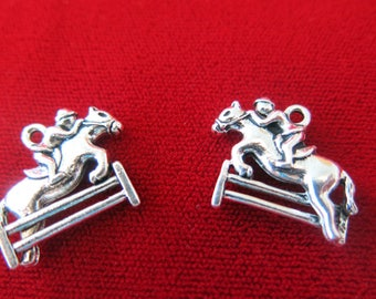 "BULK! 25pc ""Jockey"" charms in antique silver style (BC310B)"