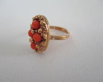 Vintage Sarah Coventry Ring Orange Beads Gold Tone Adjustable Size Retro Free Shipping