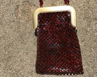 Vintage Whiting And Davis Black And Red Enamel Mesh Handbag With Lucite Chain