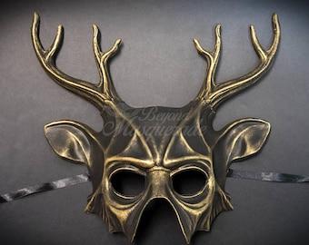 Deer Halloween Haunted House Props Animal Masquerade Mask Gold
