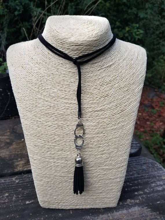 Handcuffs and Tassel Lariat Style Necklace/Choker