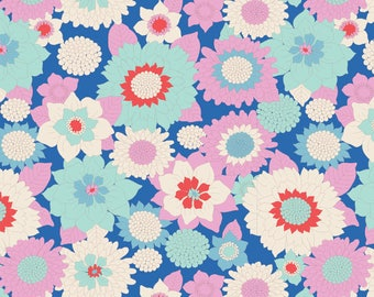 USA!  TILDA The LEMON Tree Fabric Collection 1 Yard Boogie Flower in Blue