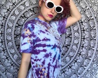 Purple tie dye shirt, cut up tshirt, Cotton ripped shirt, swirl, V-neck, festival wear, hippy, hippie