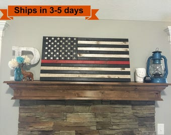 "37""x19.5"" Thin Red Line Rustic Flag"