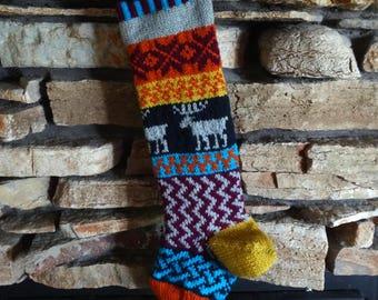 Personalized Christmas Stockings, Knit Christmas Stocking, Christmas Stocking, Knitted Christmas Stockings, Navy Moose, Fuchsia Snowflakes