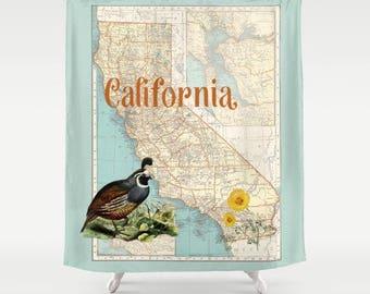California Map Shower Curtain - California Quail, Orange Poppy, aqua- surfer, beach, So Cal, decor, California State Pride