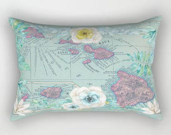 Floral Hawaii Map Pillow Case in aqua,    geography, unique travel, wander, flowers bedroom, bedding, design