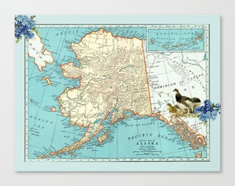 Alaska map Fleece Blanket throw - cozy, sofa, couch, bed, travel decor, minimal, soft,  winter, warm, wanderlust, Alaska Gift