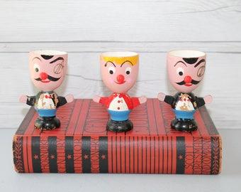Vintage Lot of 3 Wood Character Egg Cups, Vintage Wooden Egg Cup, Vintage Painted Wood Eggcup