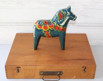 Vintage Large Swedish Blue Dala Horse Souvenir, Swedish Folk Art Horse, Vintage Swedish Souvenir, Dalecarlian Horse