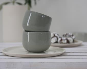 Ceramic espresso cup set in gray.unique coffee mug,Modern Espresso Cups, christmas gift guide,unique gift,Housewarming gift,for the hostess