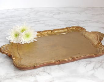 Vintage Gilt Wood Tray - Florentine Style Tole Tray - Toleware Gold Tray