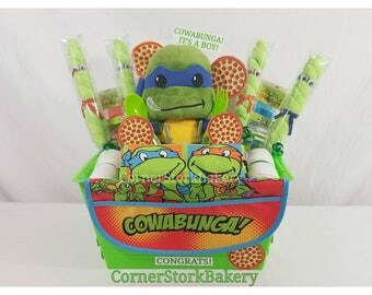 TMNT Diaper Gifts  TMNT Baby Gifts  Turtle Baby Shower  Turtle Centerpiece  Diaper Cake  Baby Boy Gift  Ninja Turtle Baby Gift Basket  Gifts