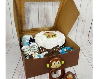 Monkey Diaper Cake & Cupcakes