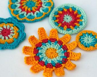 Flowers Crochet applique, Color me collection, Rainbow flowers, Crochet Flower, Colorful flowers, Handmade flowers, 3.5-8cm, Set of 5